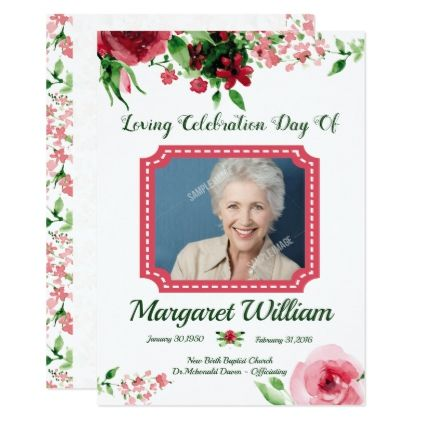 Floral Funeral Program Card Template Floral invitation, Flower - funeral cards template
