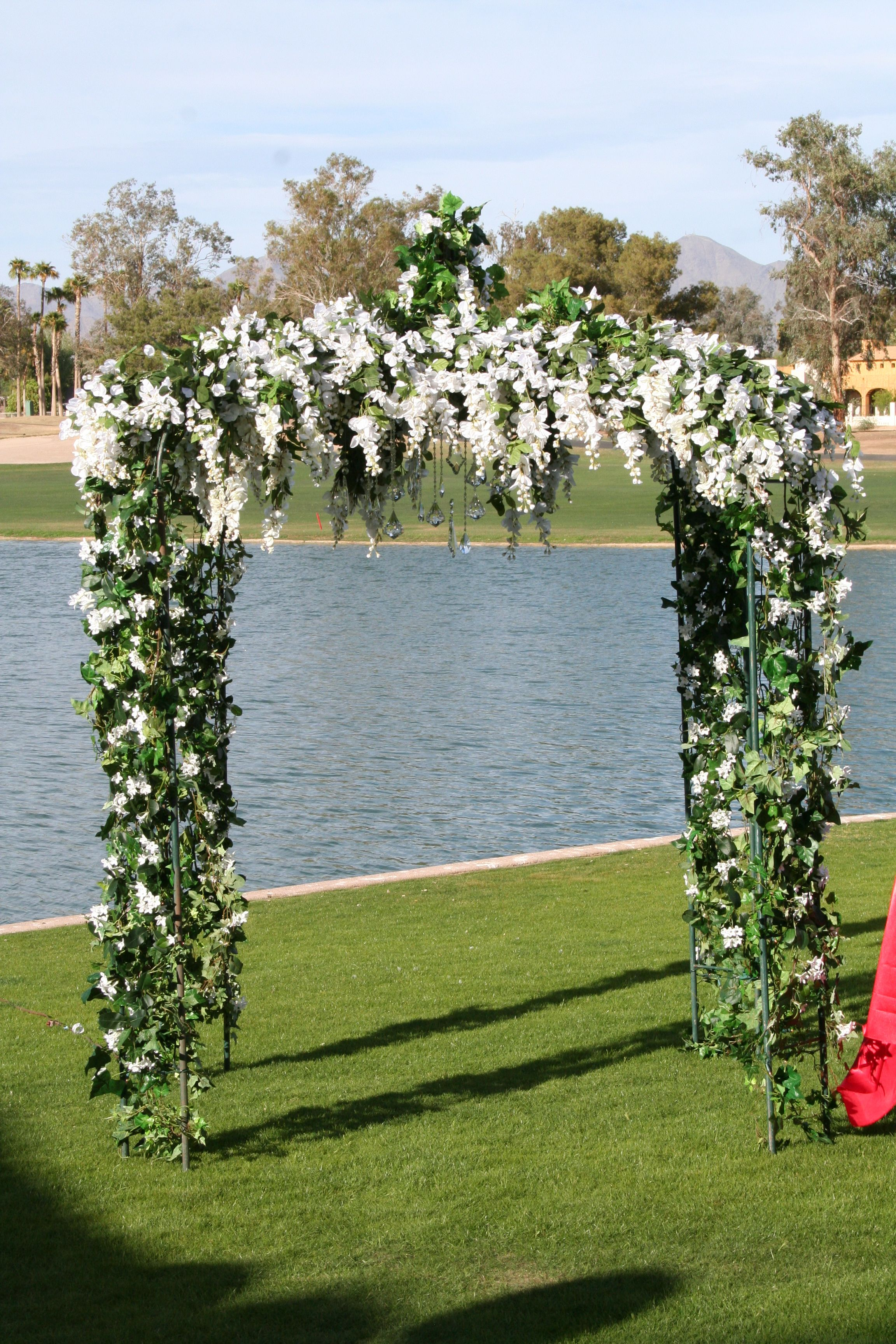 Outdoor Wedding Gazebo With Ivy And Wisteria Hanging Crystals
