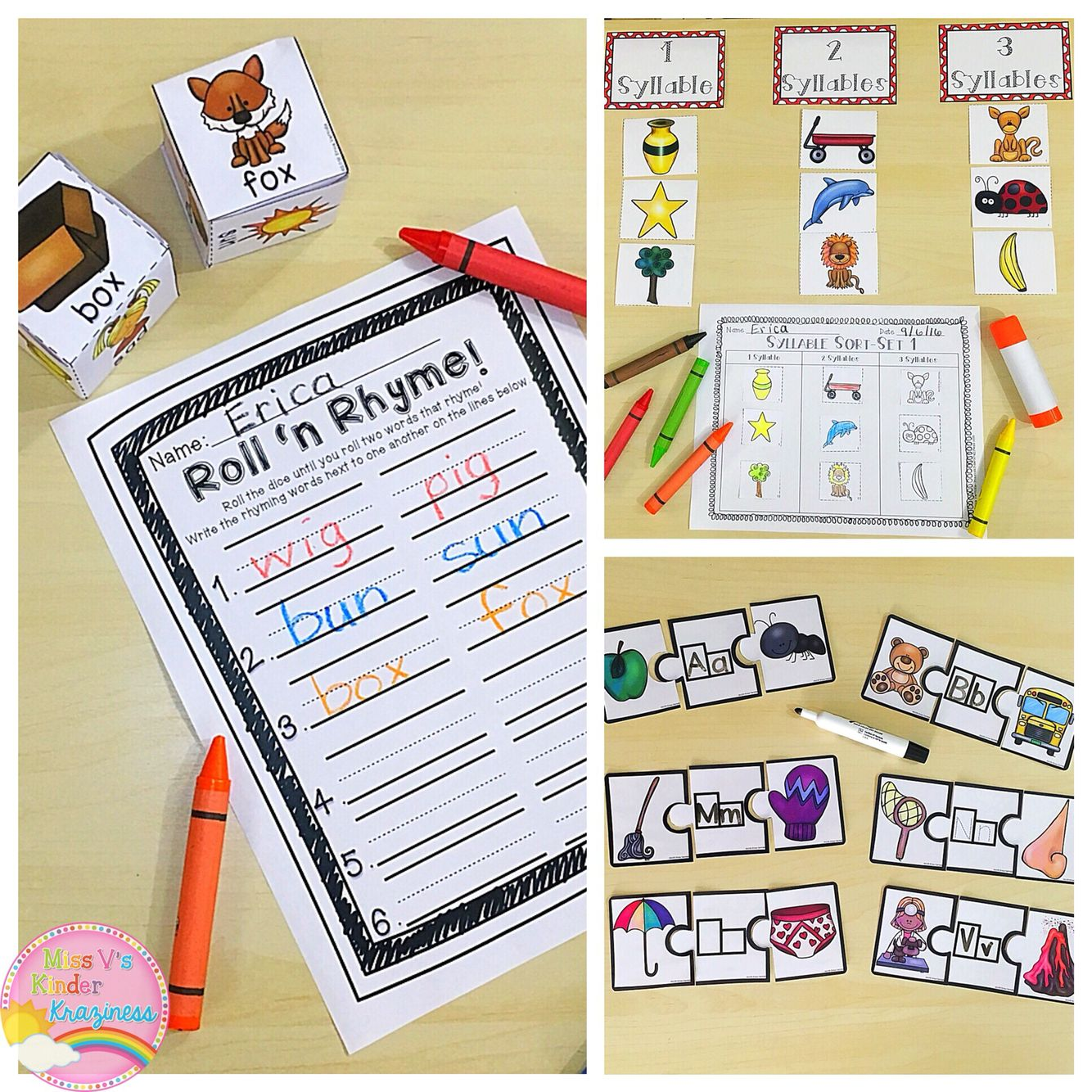 Initial Sounds Rhyming Words And Syllables Literacy Centers