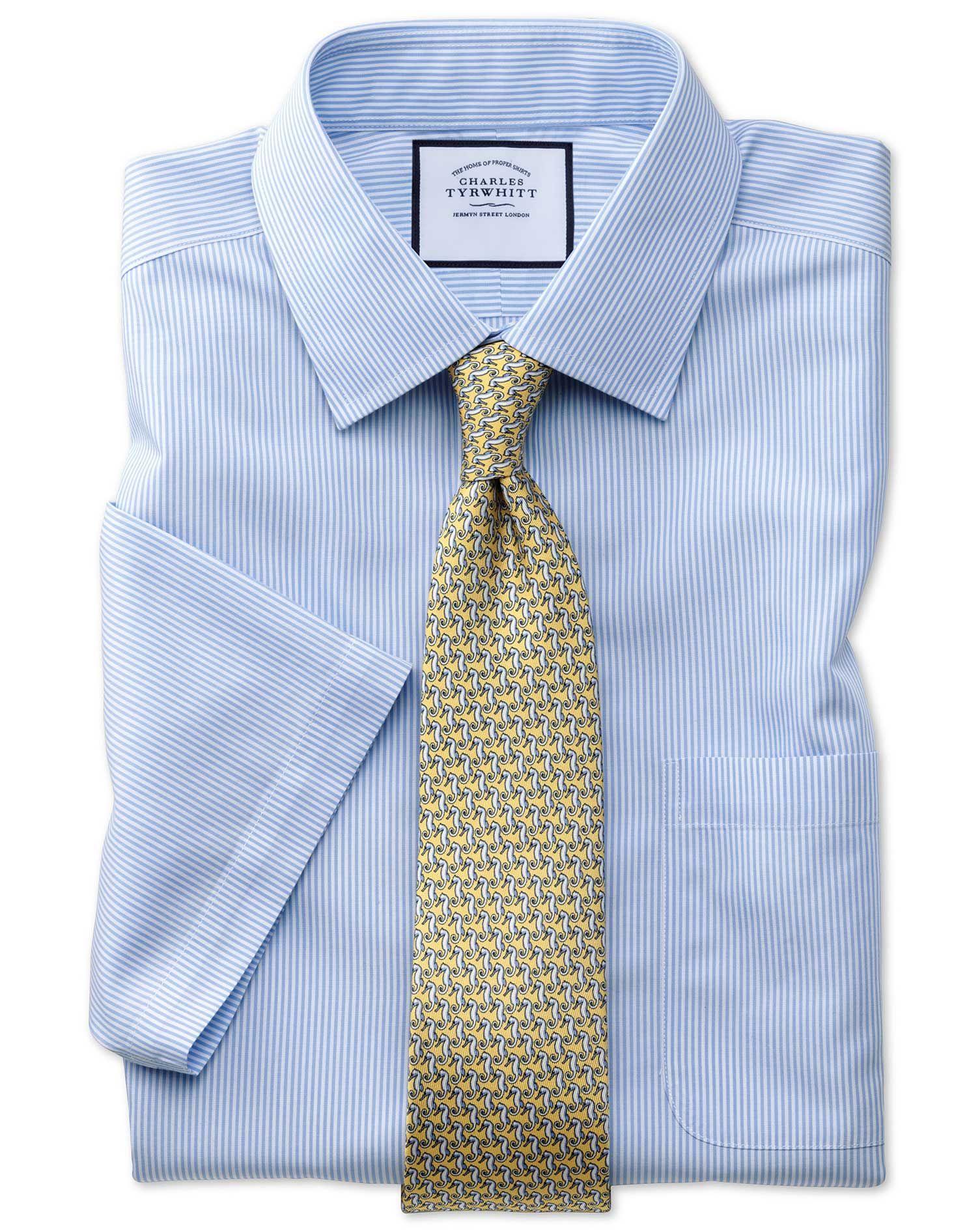 Classic Fit Non-Iron Sky Blue Bengal Stripe Short Sleeve Cotton Dress Shirt Size 16/Short by Charles Tyrwhitt #shortsleevedressshirts