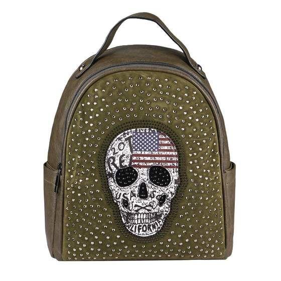 Photo of OBC WOMAN'S SKULL BACKPACK BAG Rhinestones Glitter City Backpack