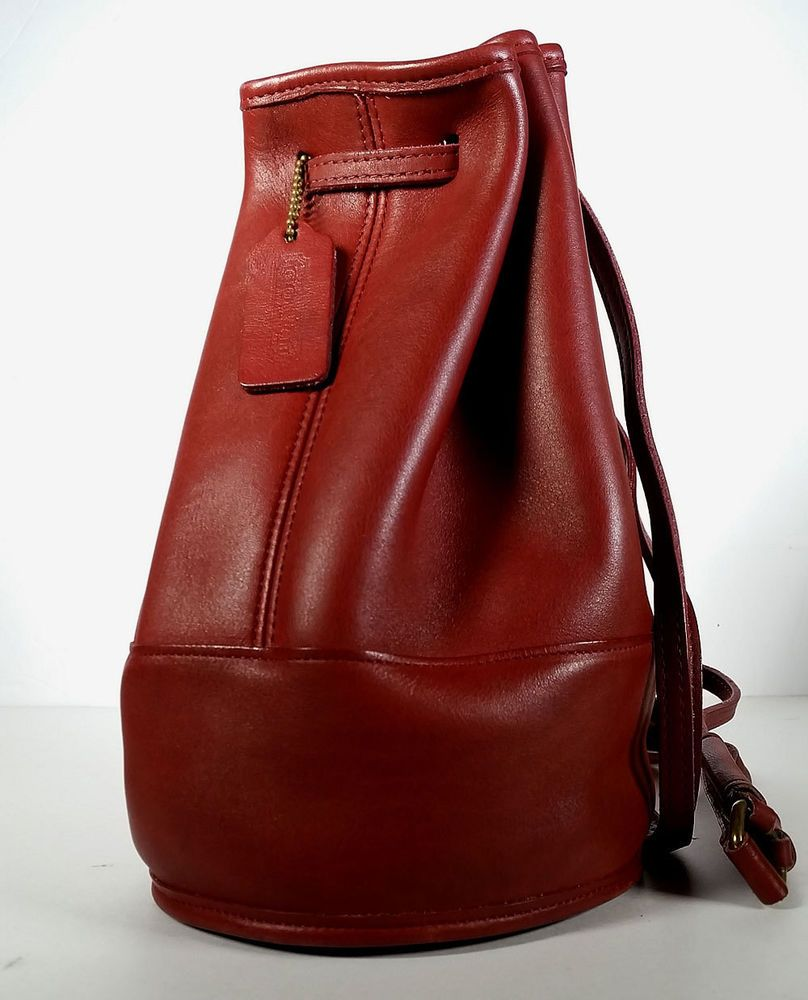 VINTAGE COACH Purse Red Backpack Sling BAG, Convertible