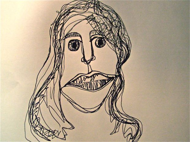 Continuous Line Drawing Face : Continuous line drawing female art