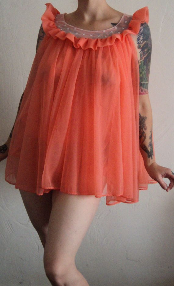 b08da6ac2a1bd 60s sherbert orange short nightie medium by missruthies on Etsy, $45.00