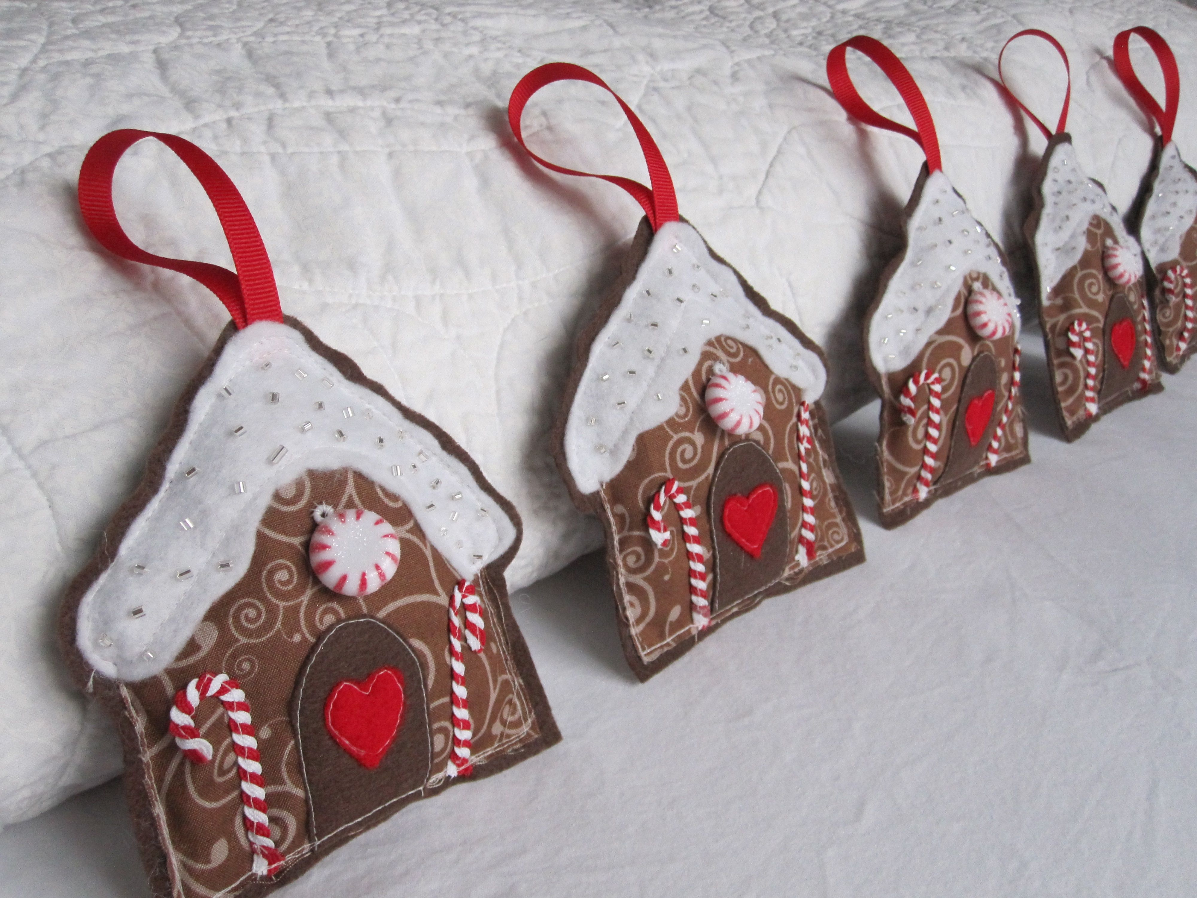 Felt Gingerbread House Ornaments Felt Christmas Ornaments Felt