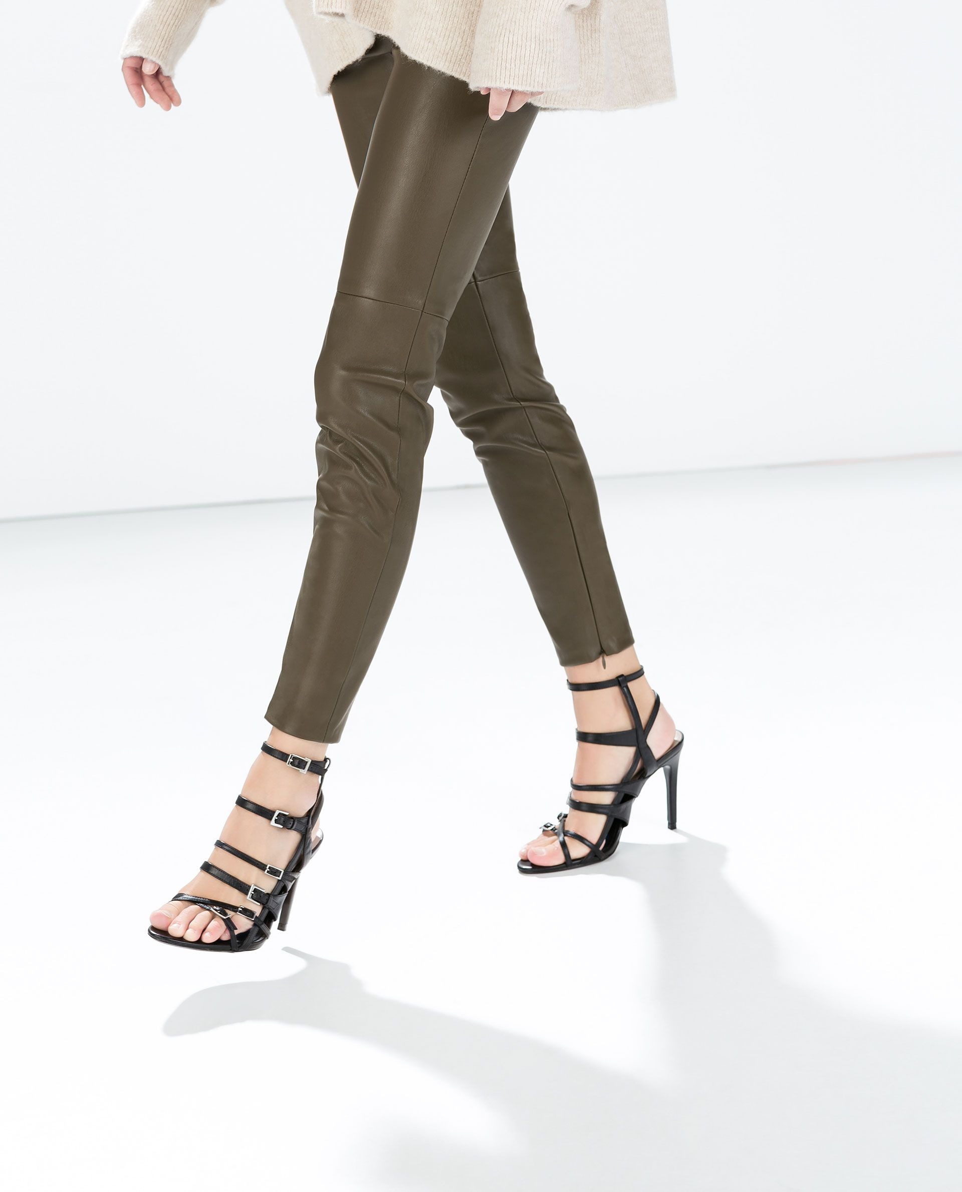 79fb7e5a FAUX LEATHER LEGGINGS WITH SEAM AT THE KNEE from Zara | Fashion ...