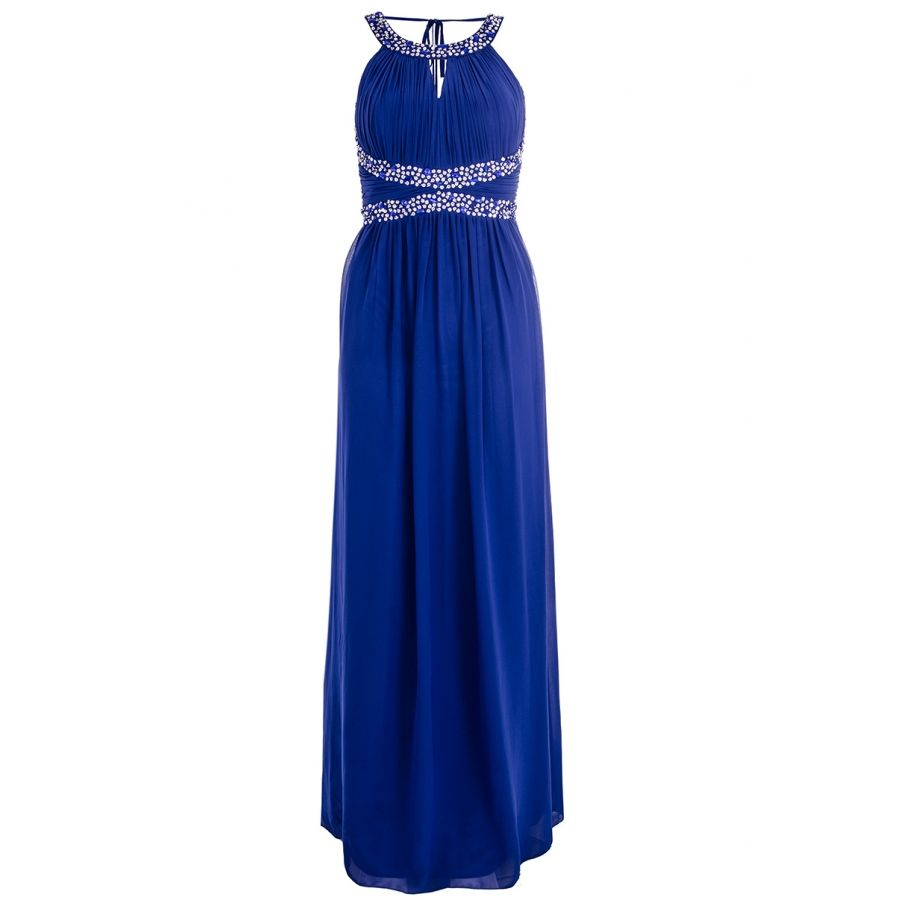 Royal blue chiffon embellished low back maxi dress