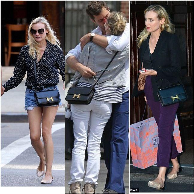 The Fake Parisian 5 Style Staples Of Diane Krueger Diane Kruger Hermes Constance Bag Hermes Constance