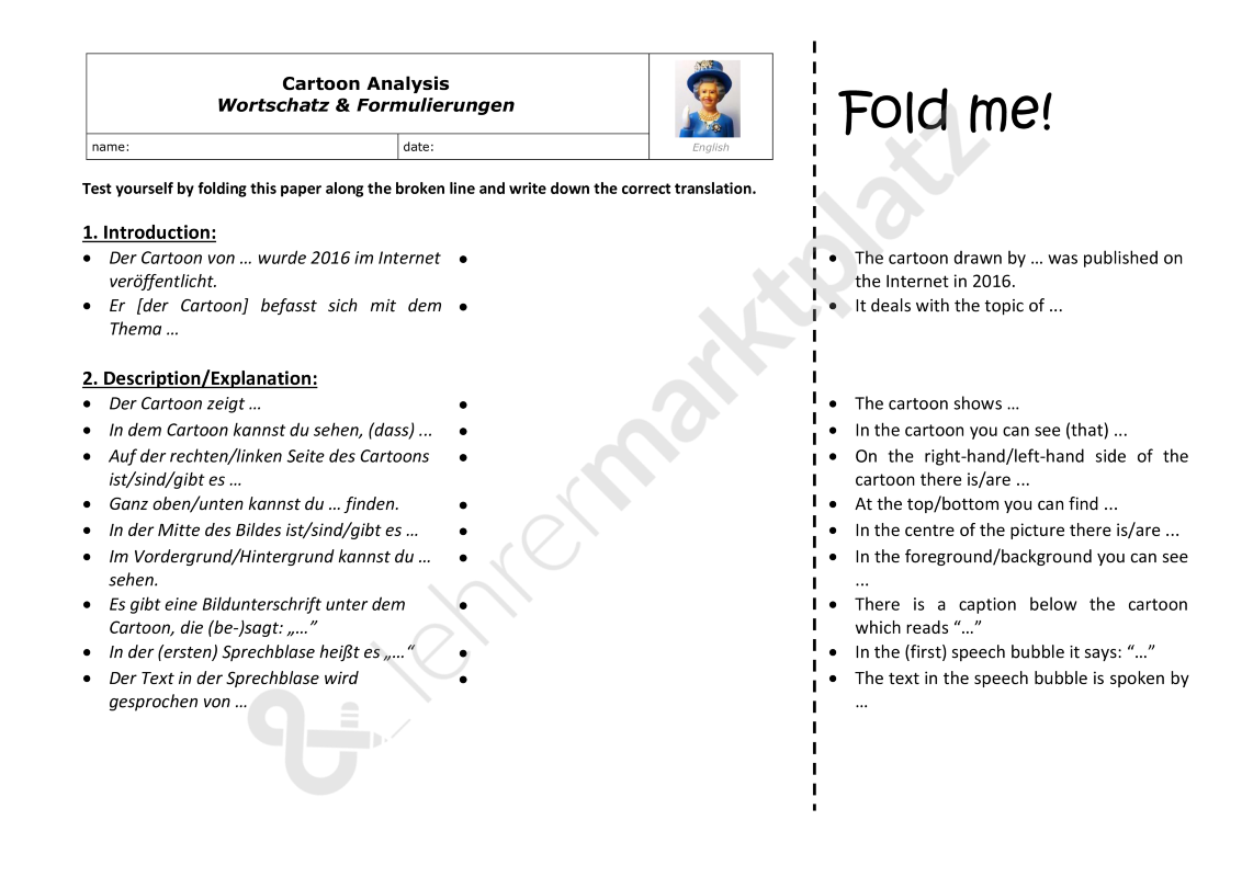 Cartoon Analysis Anleitung Aufbau Example Useful Phrases 10