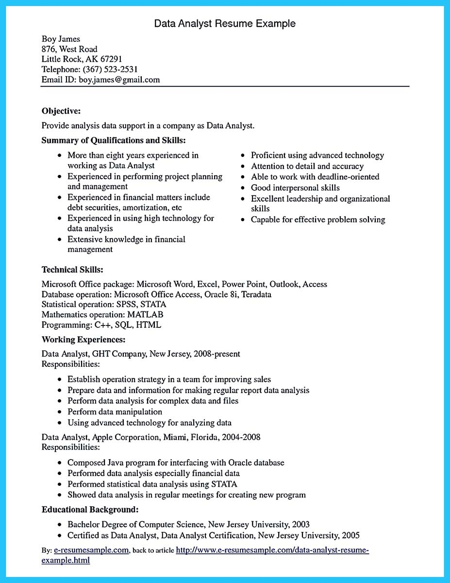 Data Analyst Resume Examples 2019 Data Analyst Resume Sample 2020 Data Analyst Business Analyst Resume Resume Examples