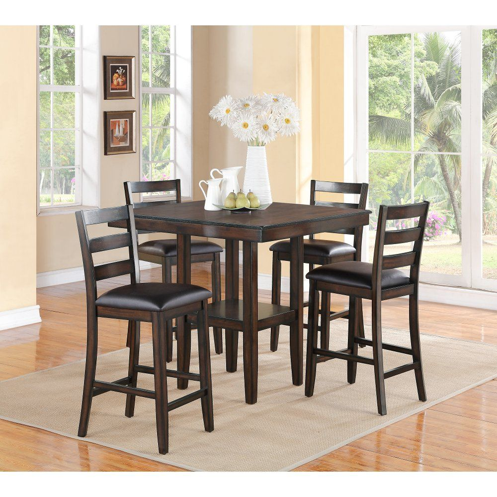 Brown 5 Piece Counter Height Dining Set Tahoe Counter Height Dining Sets Solid Wood Dining Set Dining Set
