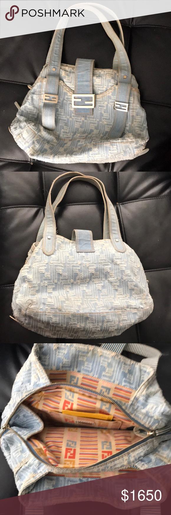 100% Authentic Vintage Fendi 100% Authentic Limited Vintage Fendi Denim Bag  Fendi Bags Shoulder Bags 046de2c351798