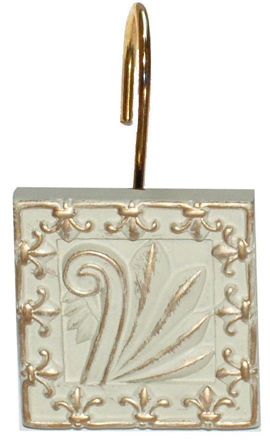Fleur De Lis French Inspired Resin Shower Curtain Hooks Set