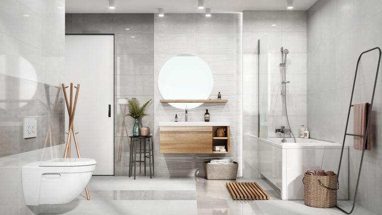 Ceramstic Round Mirror Bathroom Light Grey Home Decor