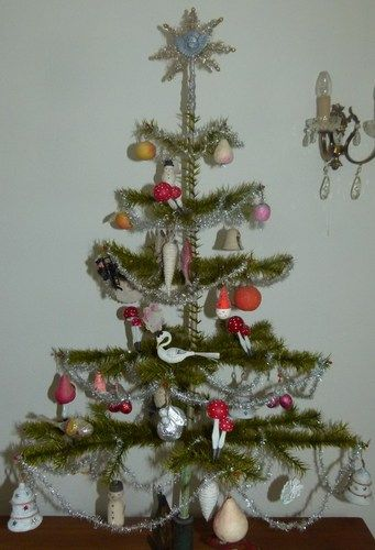 Nice Antique Real GOOSE Feathers Christmas Tree with White Cotton Ornaments  | eBay - Nice Antique Real GOOSE Feathers Christmas Tree With White Cotton
