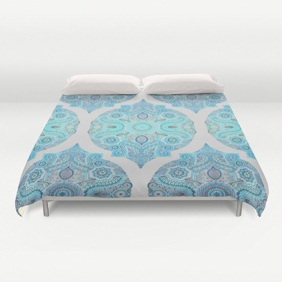 Decorative Ocean Blue Duvet Cover Queen and king by PushkaStudio