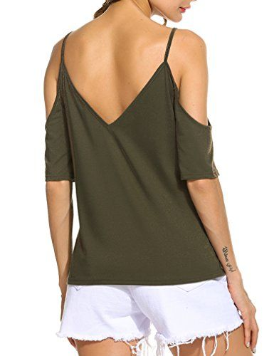 99eb30e5db74c Special Offer   14.99 amazon.com Women s V Neck Cut Out Cold Shoulder Short  Sleeve T Shirt Casual Tops Measurement Please allow 1-2cm differs due to  manual ...