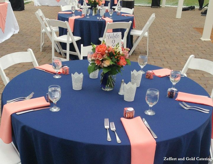 Navy Blue Linens With Coral Accents Wedding Reception Tables Shade Tre Wedding Reception Table Decorations Wedding Reception Tables Wedding Table Decorations