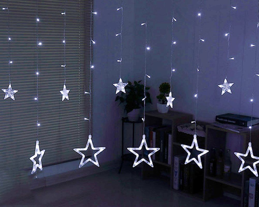 amazon: twinkle star 12 stars 138 led curtain string lights