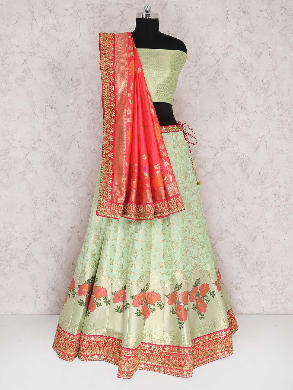 eac122bf746 Green Red Semi Stitched Lehenga Choli In Banarasi Silk Fabric ...