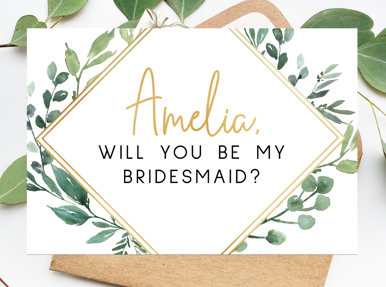 Custom printable will you be my bridesmaid maid of honor