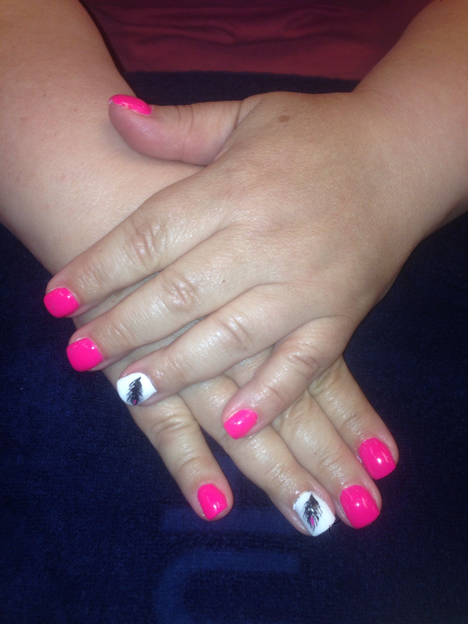 Sport length got pink and white hell nails with hand painted designs ...