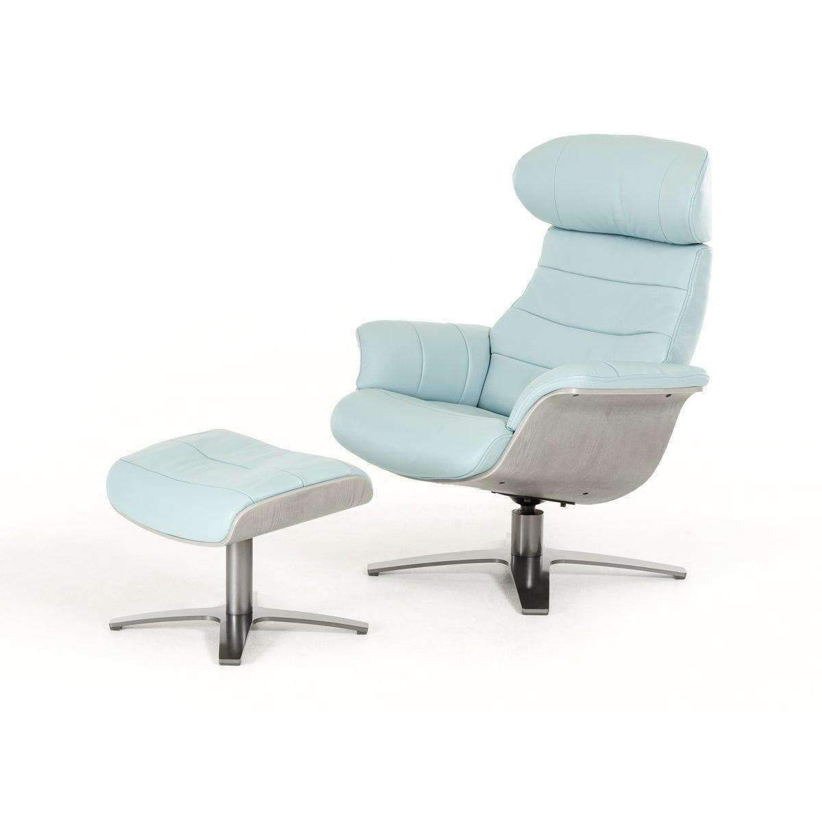 Fauteuils Relaxants Stressless Divani Casa Charles Modern Blue Leather Reclining Chair W Ottoman