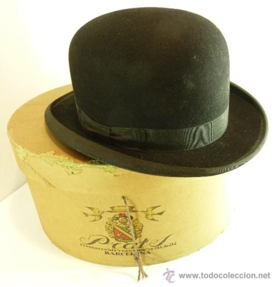 2590fc373cf26 ANTIGUO SOMBRERO BOMBIN CON CAJA PRATS - BARCELONA (Antigüedades - Moda -  Complementos - Hombre - Sombreros Antiguos)