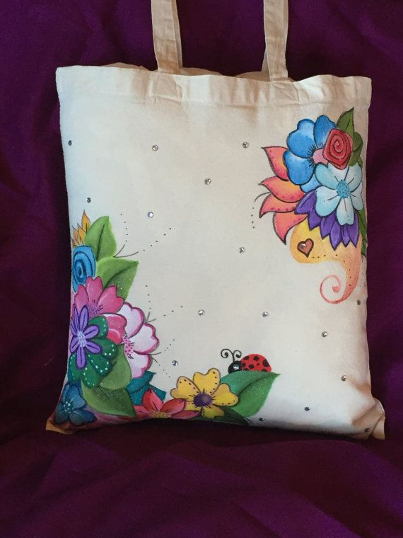 Pretty Ladybug And Flowers Design Hand Painted Tote Bag Cotton