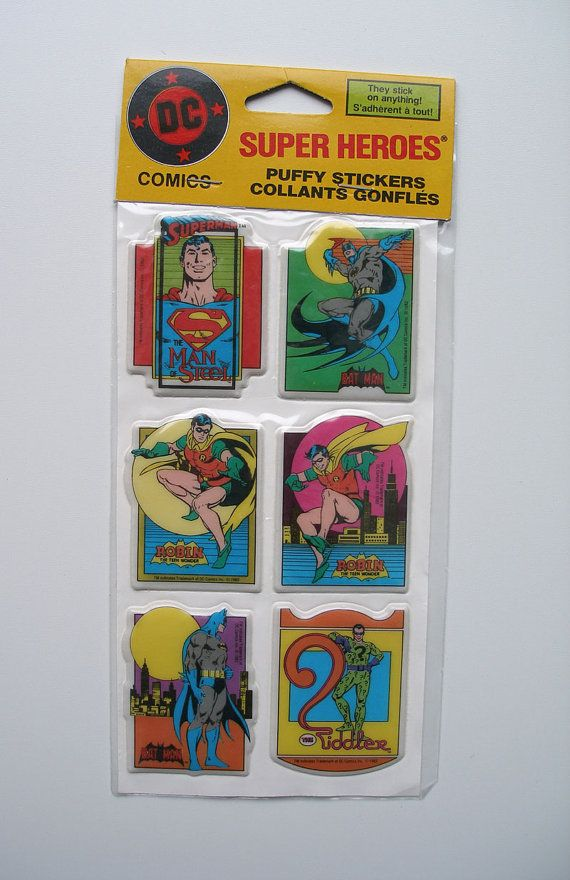 RARE Vintage DC Comics Puffy Batman Superman Riddler Robin Stickers 1982
