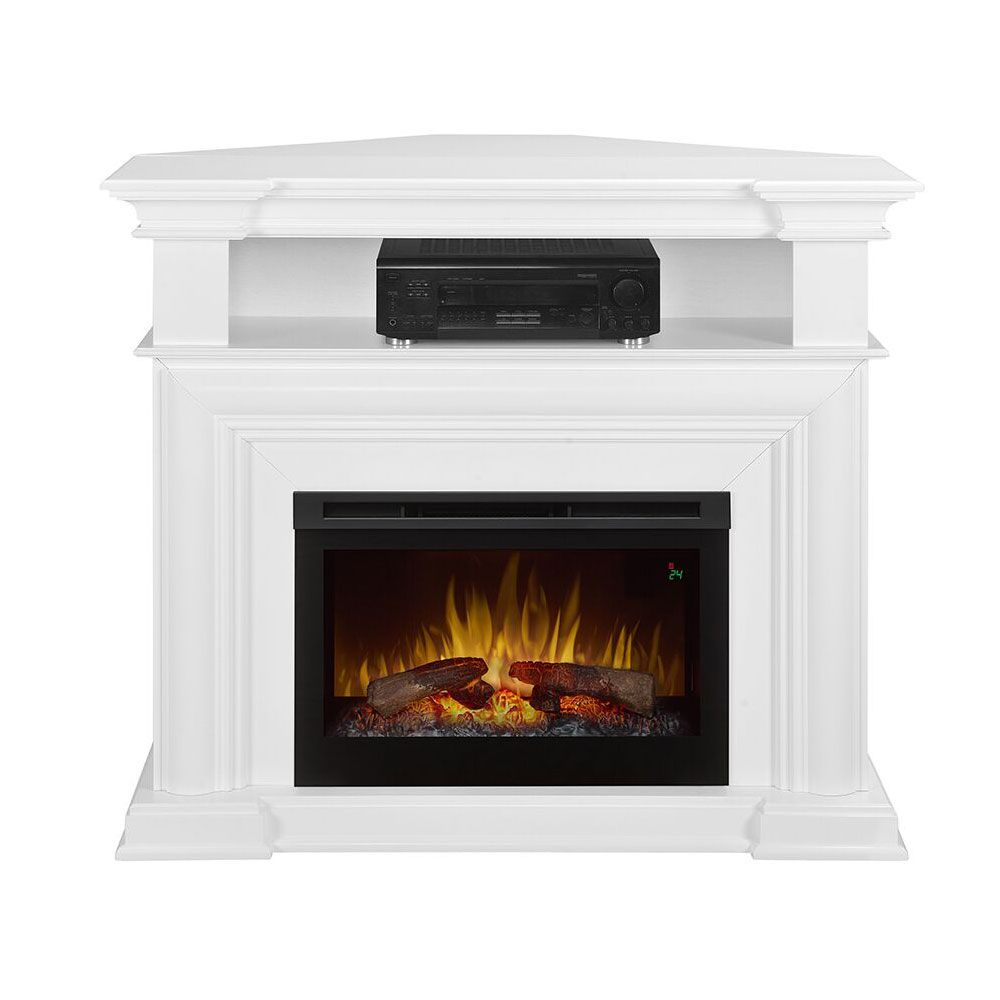 Colleen Wall Or Corner Electric Fireplace Media Console In White    DFP25L5 1537W