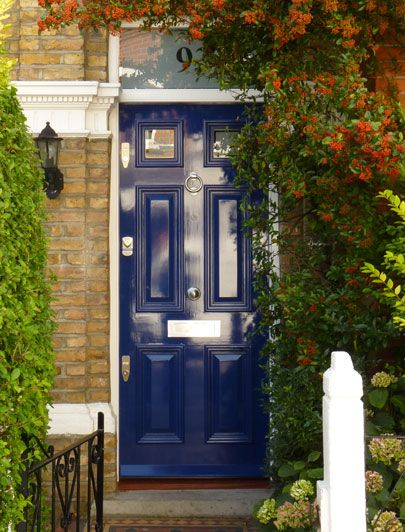 Royal Blue Regency Front Door With Foliage Londondoor