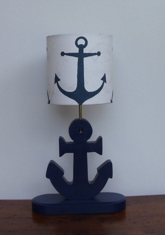 Small Handmade Navy Anchor Nautical Theme Drum By Perrelledesigns