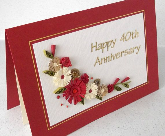 Quilled 40th Ruby Wedding Anniversary Card Handmade Paper Etsy Anniversary Cards Handmade Anniversary Cards Ruby Wedding Anniversary