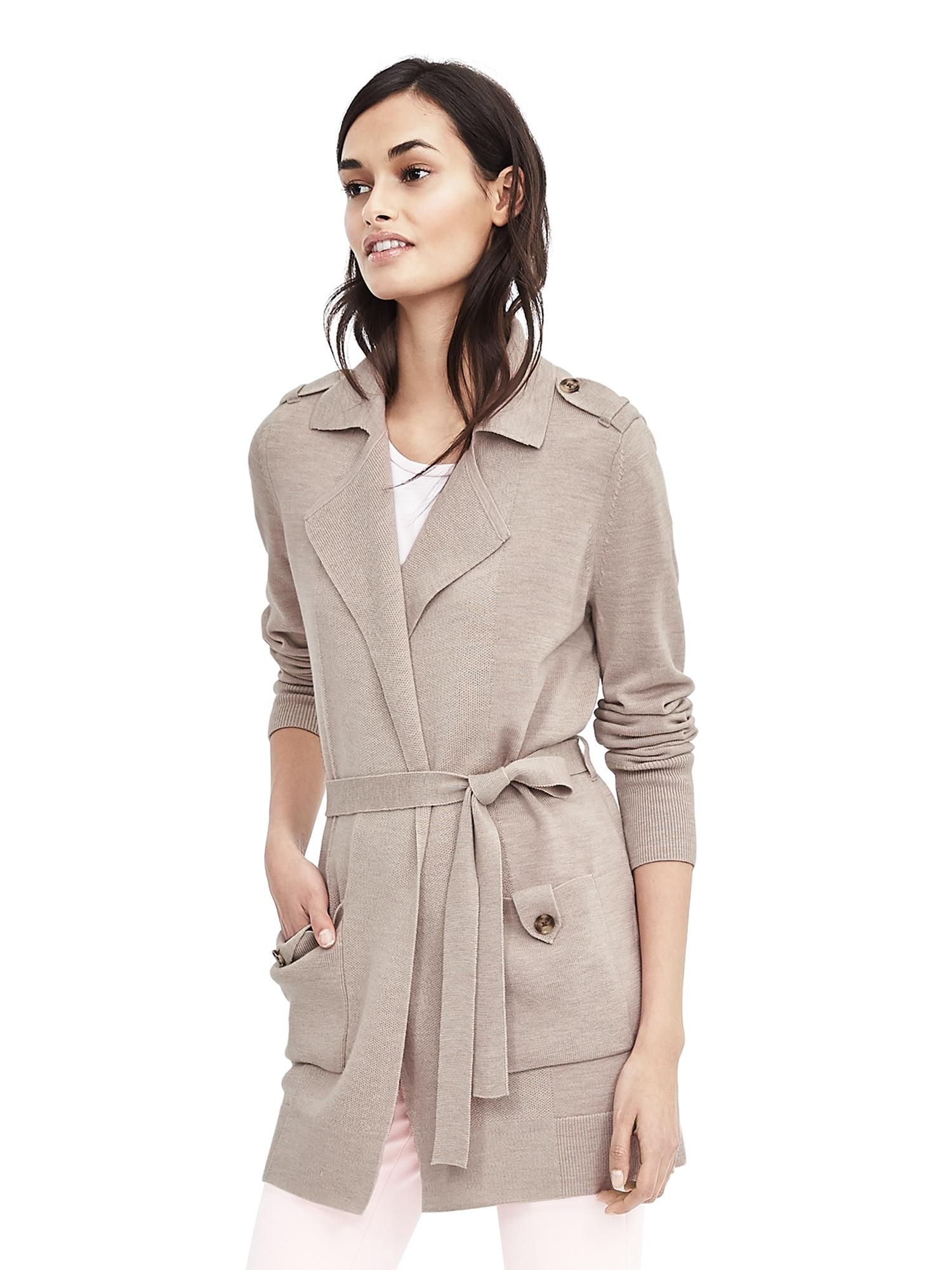 437686603df Merino Belted Sweater Trench