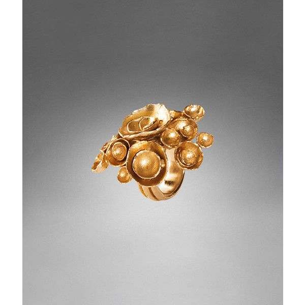 YSL Arty Flower Ring in Gold-tone Metal, found on polyvore.com