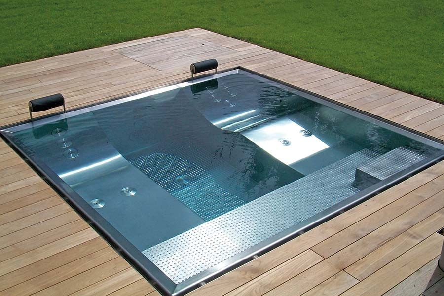 exklusive whirlpools aus edelstahl f r terrasse und wellnessraum schwimmb der pinterest. Black Bedroom Furniture Sets. Home Design Ideas