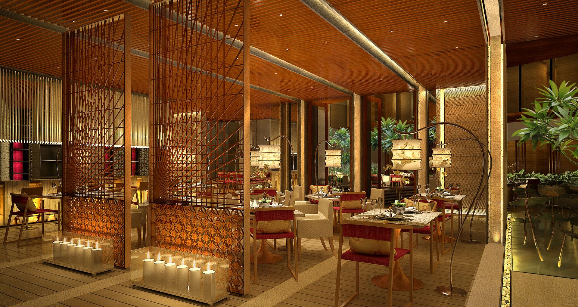 Smart open floors resorts restaurant indian interior for Indian interior design
