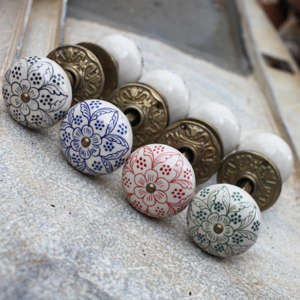 Ceramic Door Knobs (Pair) - Aged Brass Collar & Rose - DOOR KNOBS ...