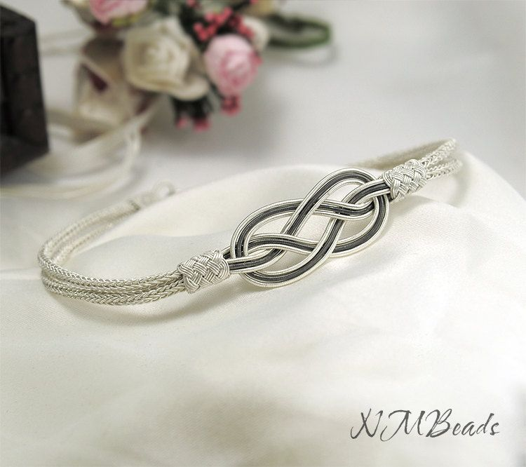Fine Silver Celtic Love Knot Infinity Bracelet Nautical Hand Woven Timeless OOAK Jewelry Viking Knit Chain Anniversary Gift For Her Kazaziye