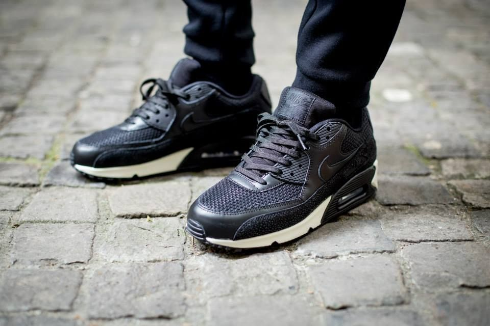air max 90 black leather on feet