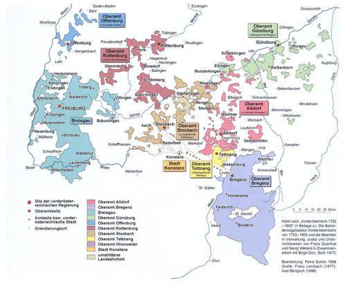 1805 Austria Breisgau Freiburg Habsburg Map Oberamter Vorarlberg