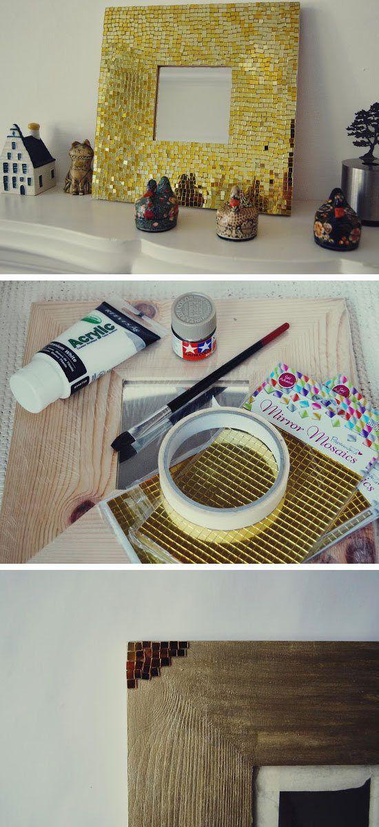 Mosaic Mirror   24 DIY Teen Bedroom Ideas for Girls ... on Mirrors For Teenage Bedroom  id=28829