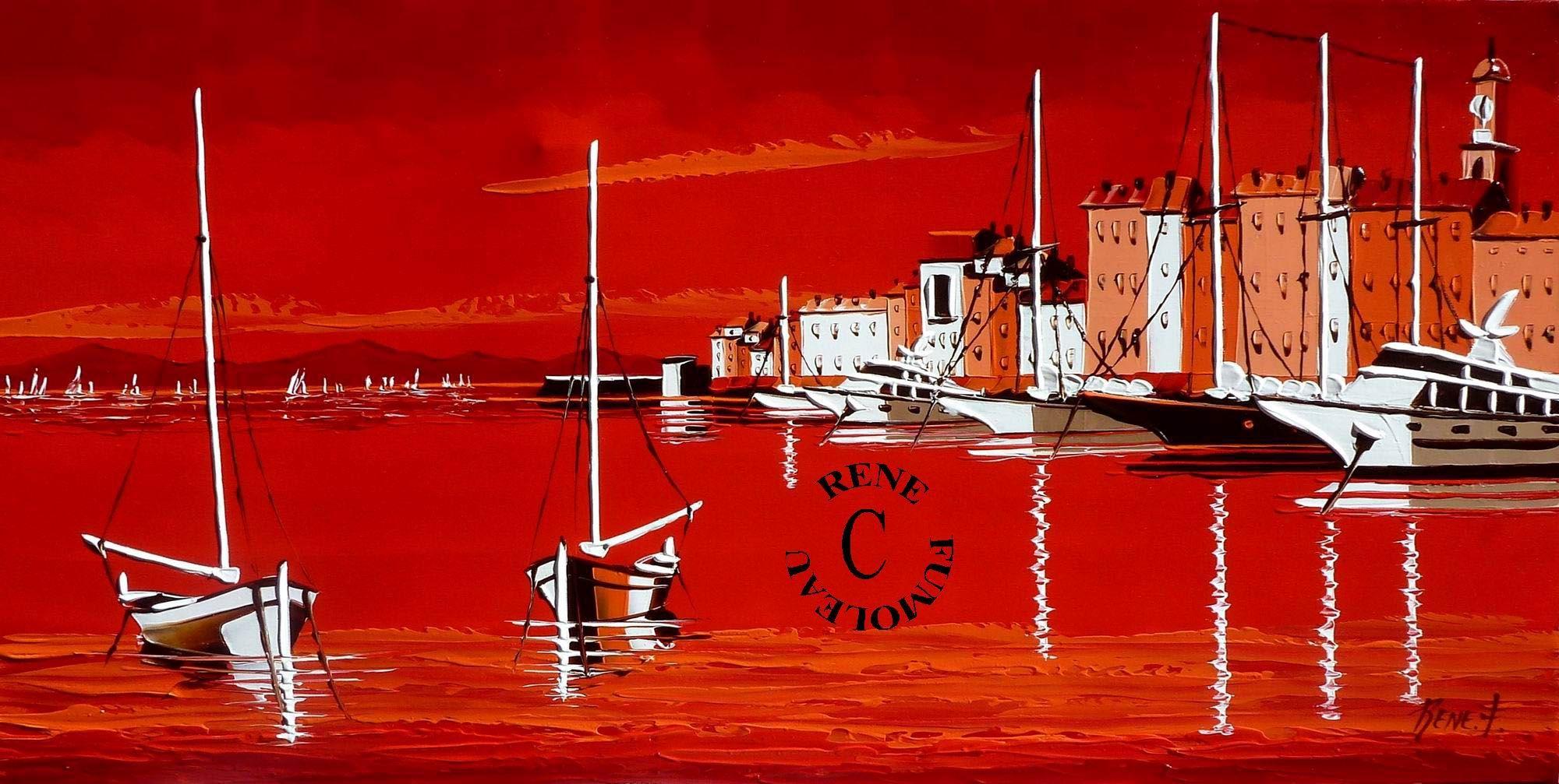 Artiste Peintre St Tropez port de saint tropez en rouge, rene fumoleau artiste peintre
