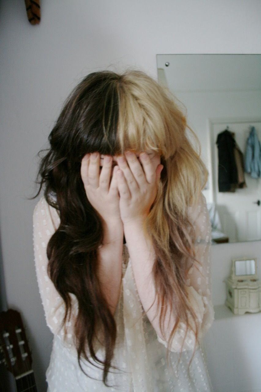 Brown And Blond Split Dyed Hair Half And Half Hair Brown Blonde Hair