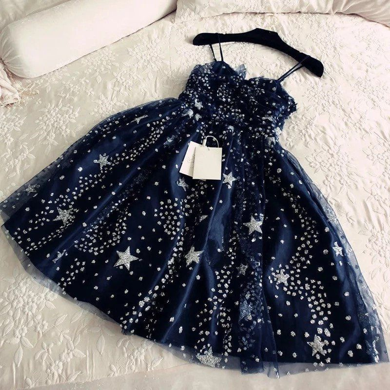 Glitter Stars Sequins Beaded Short Navy Blue Party Dresses,229 from muttie dresses
