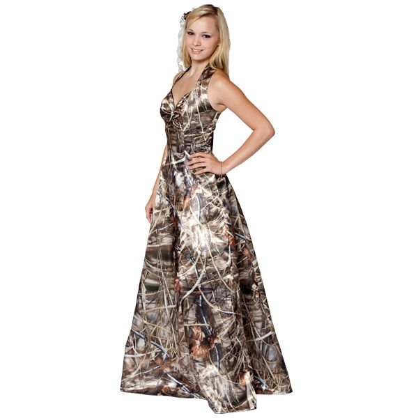Realtree Camo Gown with a Sweetheart Halter | Formal gowns, Camo ...