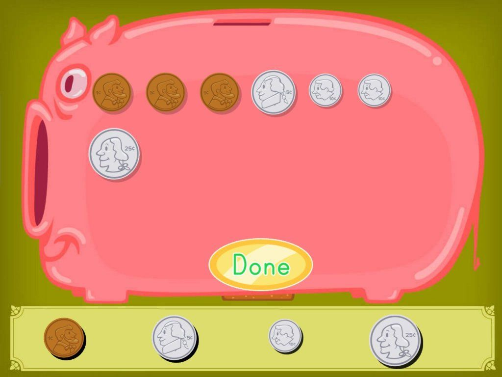 Money Math Piggy Bank Game