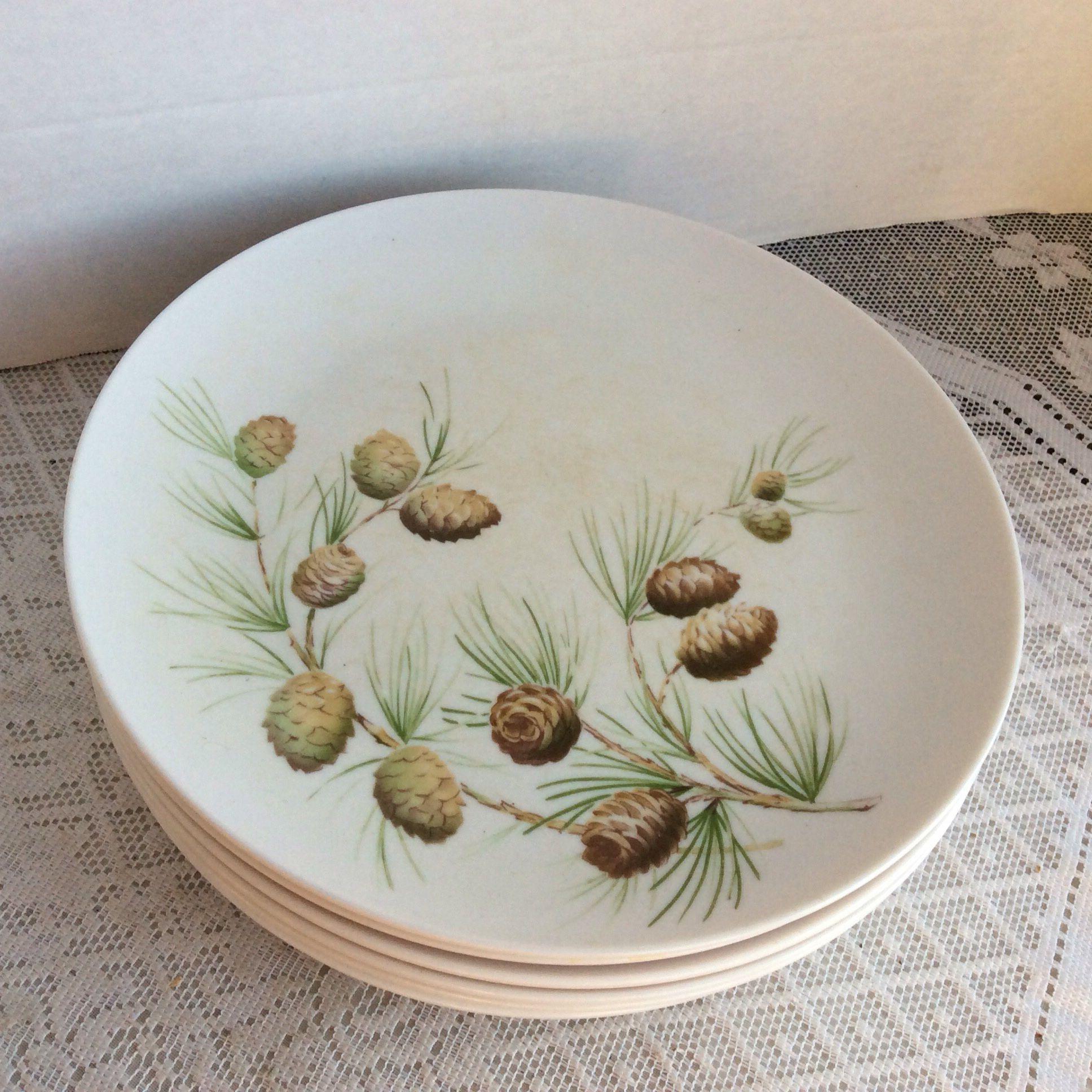 Melamine Dinner Plates /Pine Cone Pattern Plates / Vintage Boonton Ware Somerset Melmac by vintagepoetic & Melamine Dinner Plates /Pine Cone Pattern Plates / Vintage Boonton ...