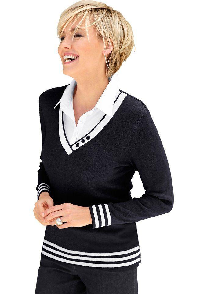 Damen Collection L. 2 in 1 Pullover mit Zierknöpfen am V
